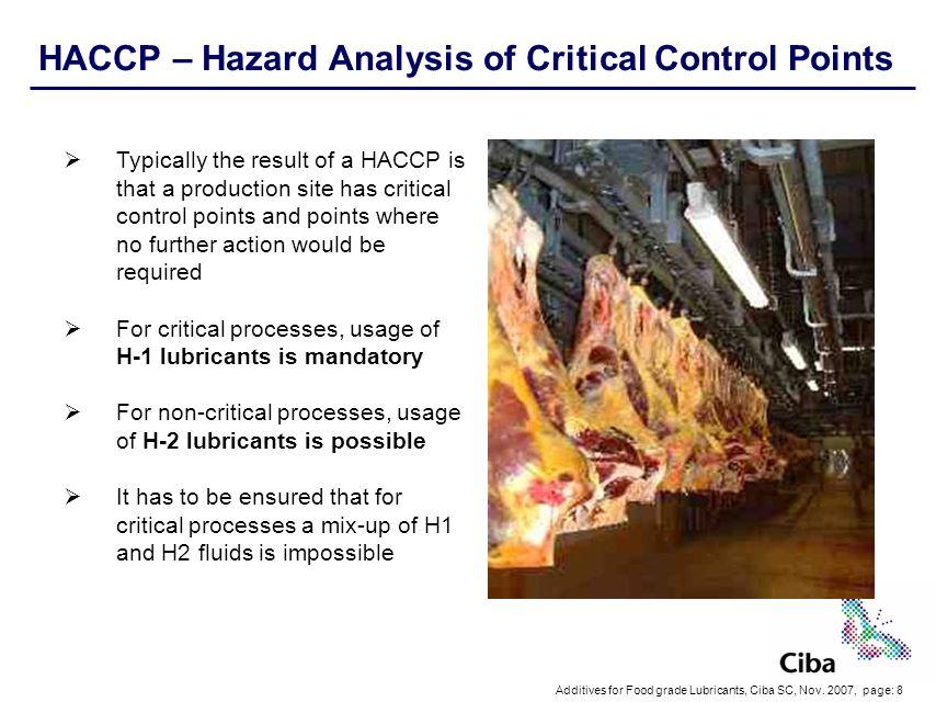 HACCP – Hazard Analysis of Critical Control Points