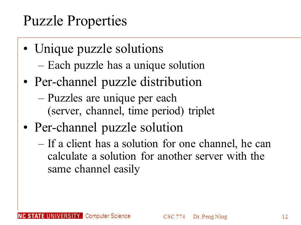 Puzzle Properties Unique puzzle solutions