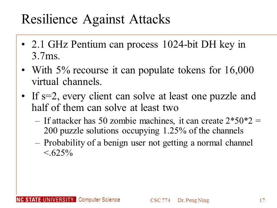Resilience Against Attacks