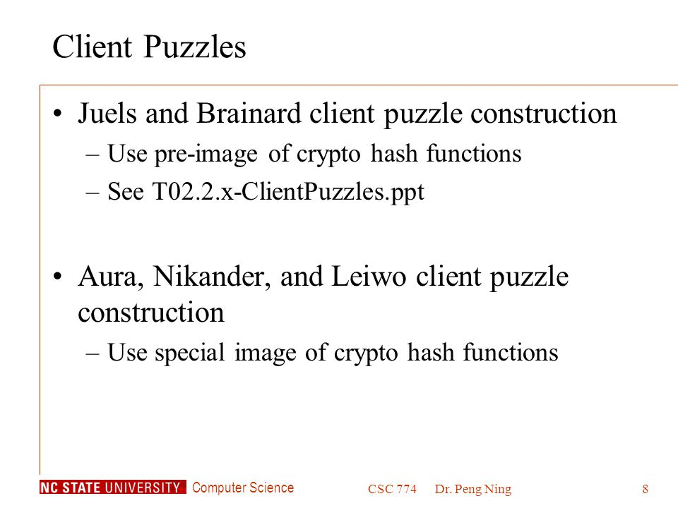 Client Puzzles Juels and Brainard client puzzle construction
