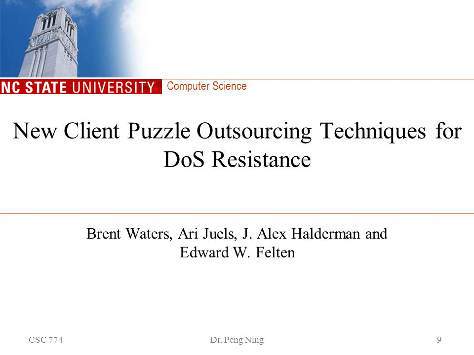 New Client Puzzle Outsourcing Techniques for DoS Resistance