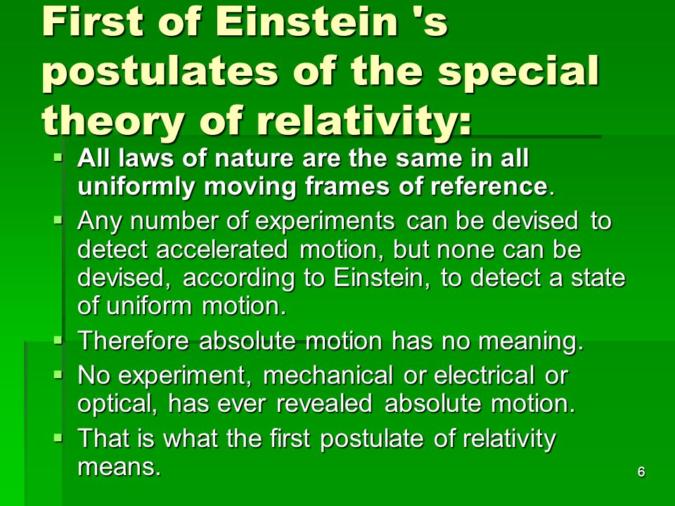 First of Einstein s postulates of the special theory of relativity: