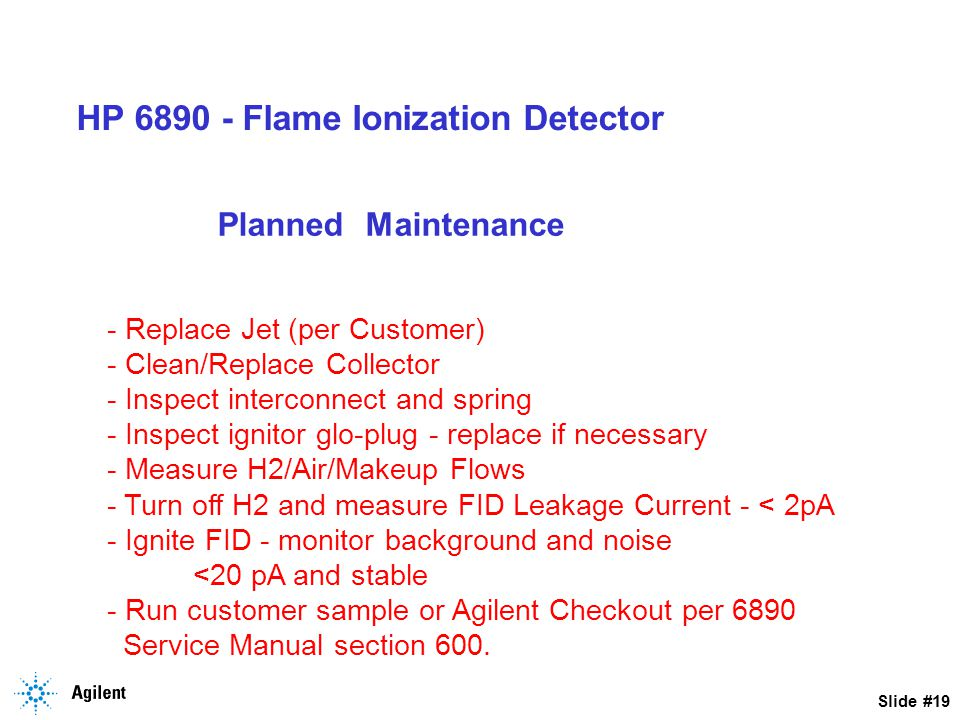 HP 6890 - Flame Ionization Detector