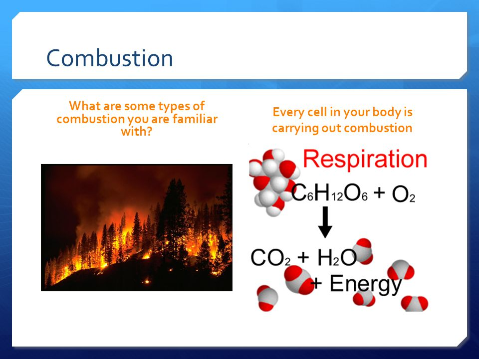 Combustion What are some types of combustion you are familiar with