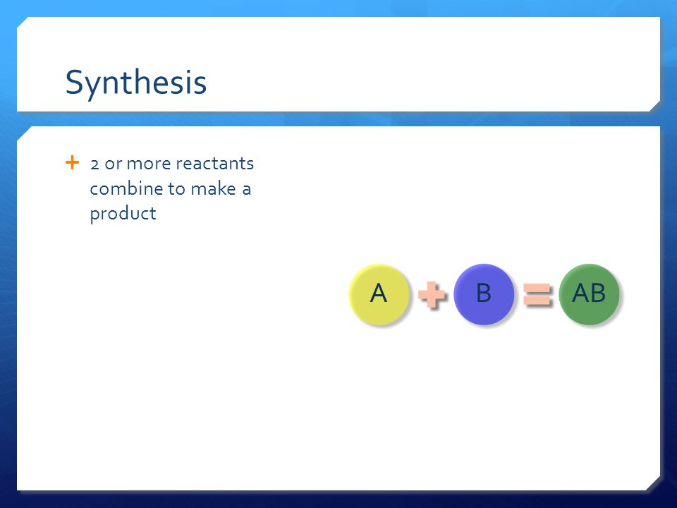Synthesis 2 or more reactants combine to make a product A B AB