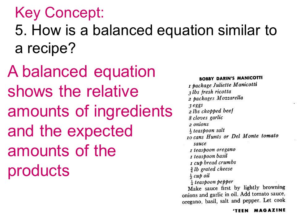 amounts of ingredients and the expected amounts of the products