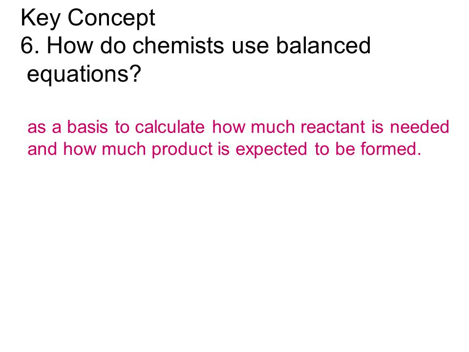 6. How do chemists use balanced equations