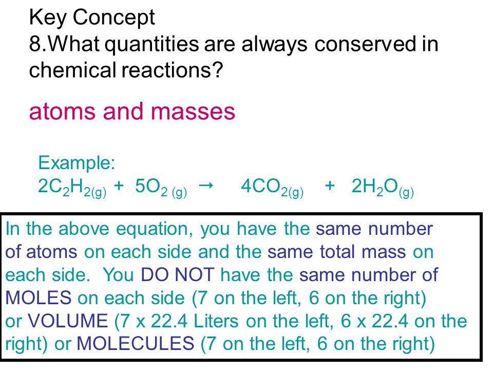 atoms and masses Key Concept 8.What quantities are always conserved in