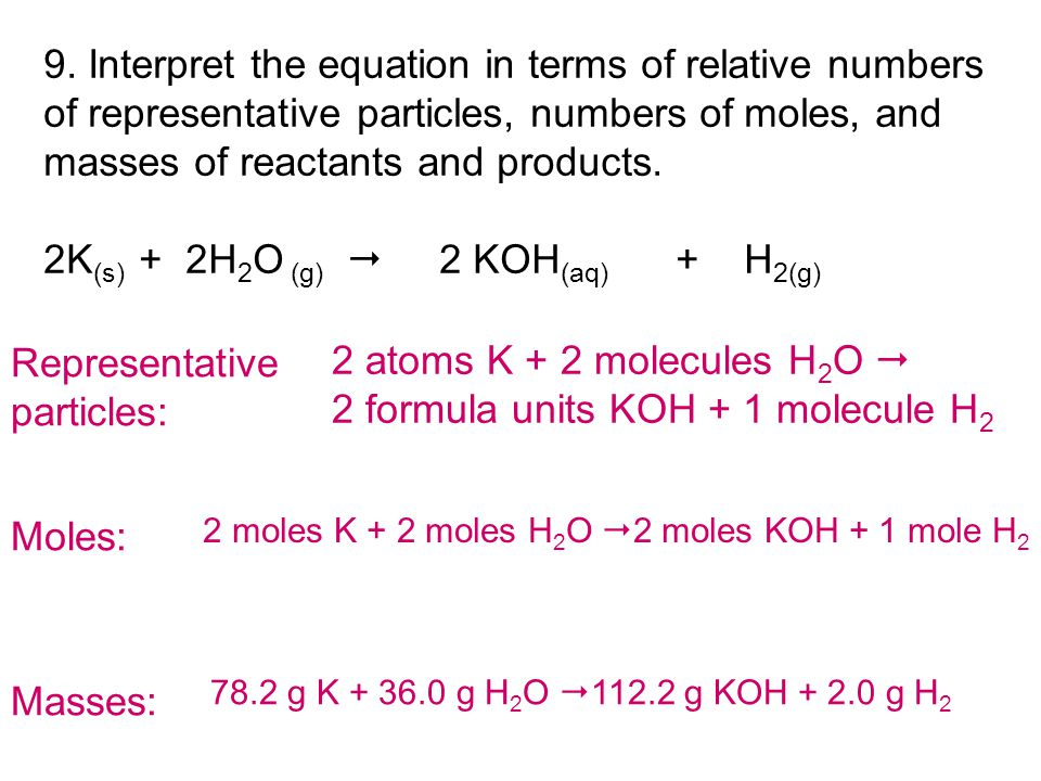 9. Interpret the equation in terms of relative numbers