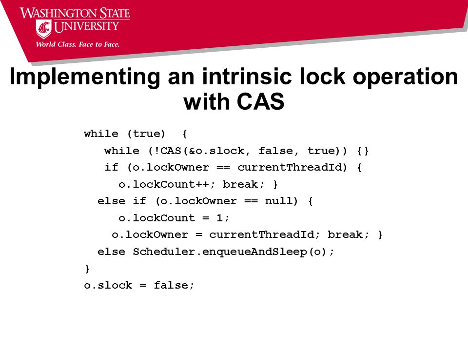 Implementing an intrinsic lock operation with CAS