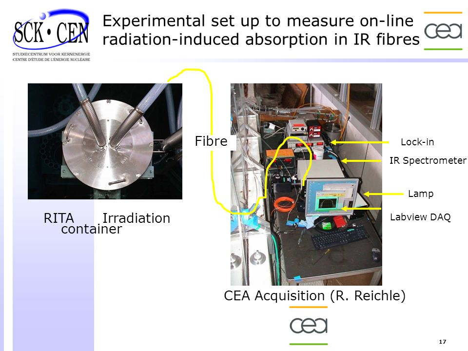 Experimental set up to measure on-line radiation-induced absorption in IR fibres