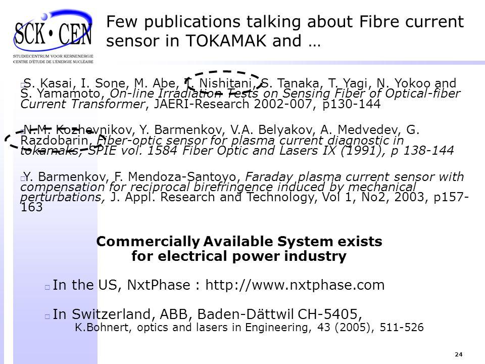 Few publications talking about Fibre current sensor in TOKAMAK and …