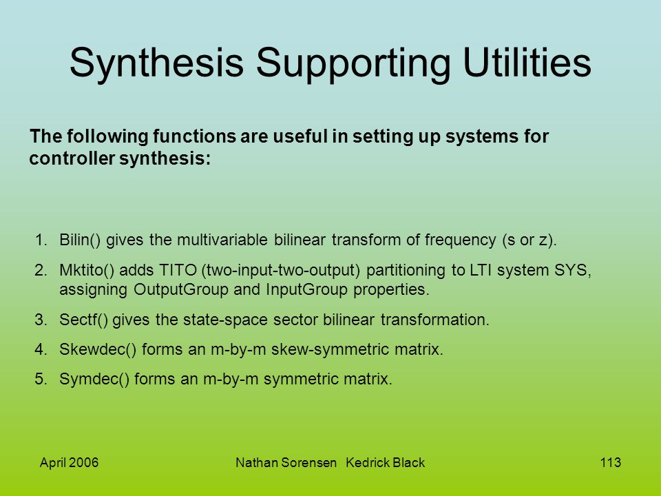 Synthesis Supporting Utilities