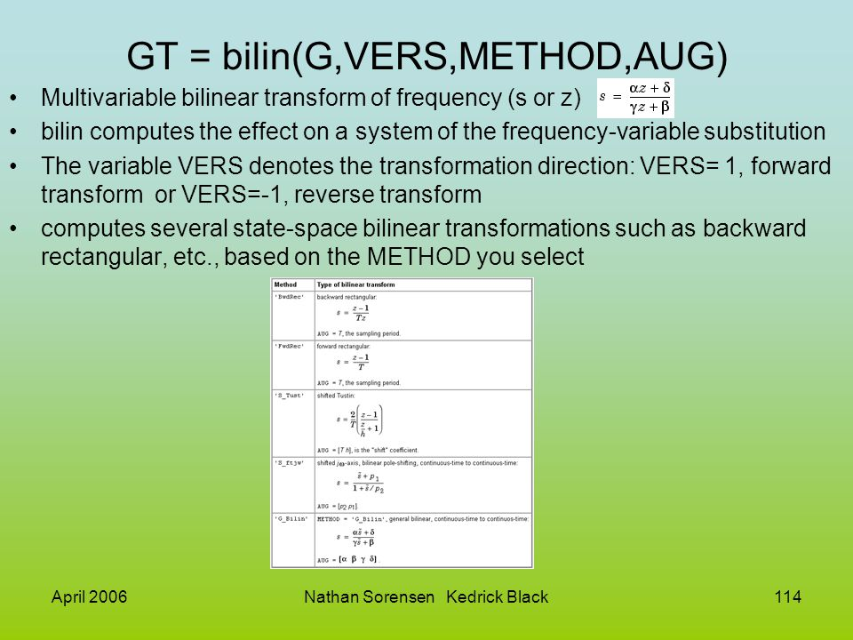 GT = bilin(G,VERS,METHOD,AUG)