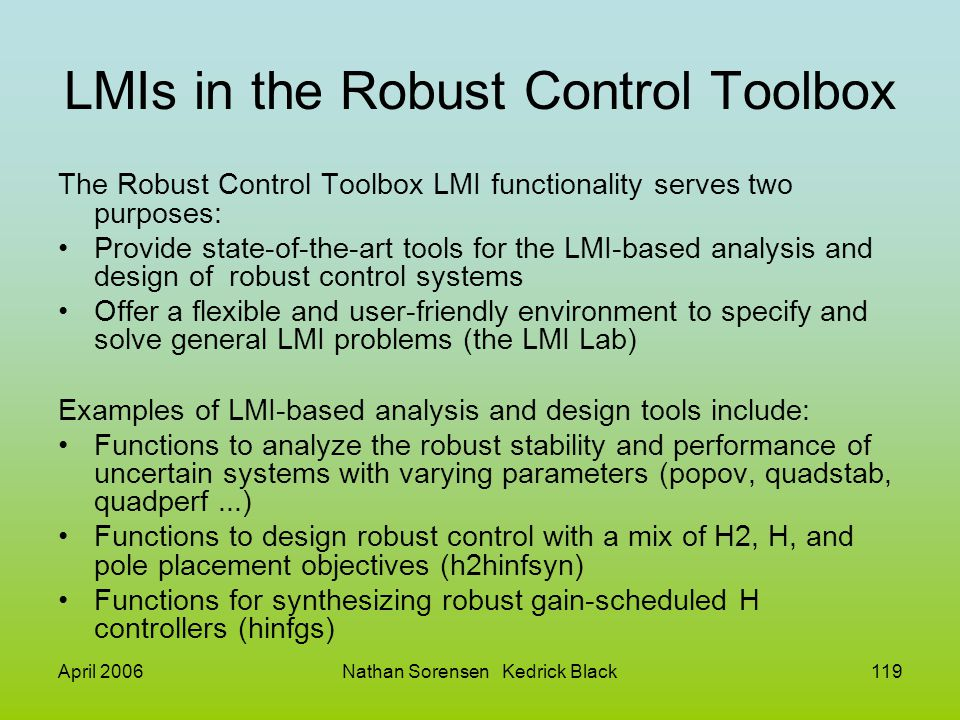 LMIs in the Robust Control Toolbox
