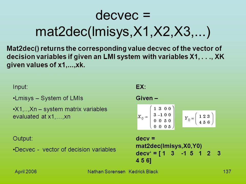 decvec = mat2dec(lmisys,X1,X2,X3,...)