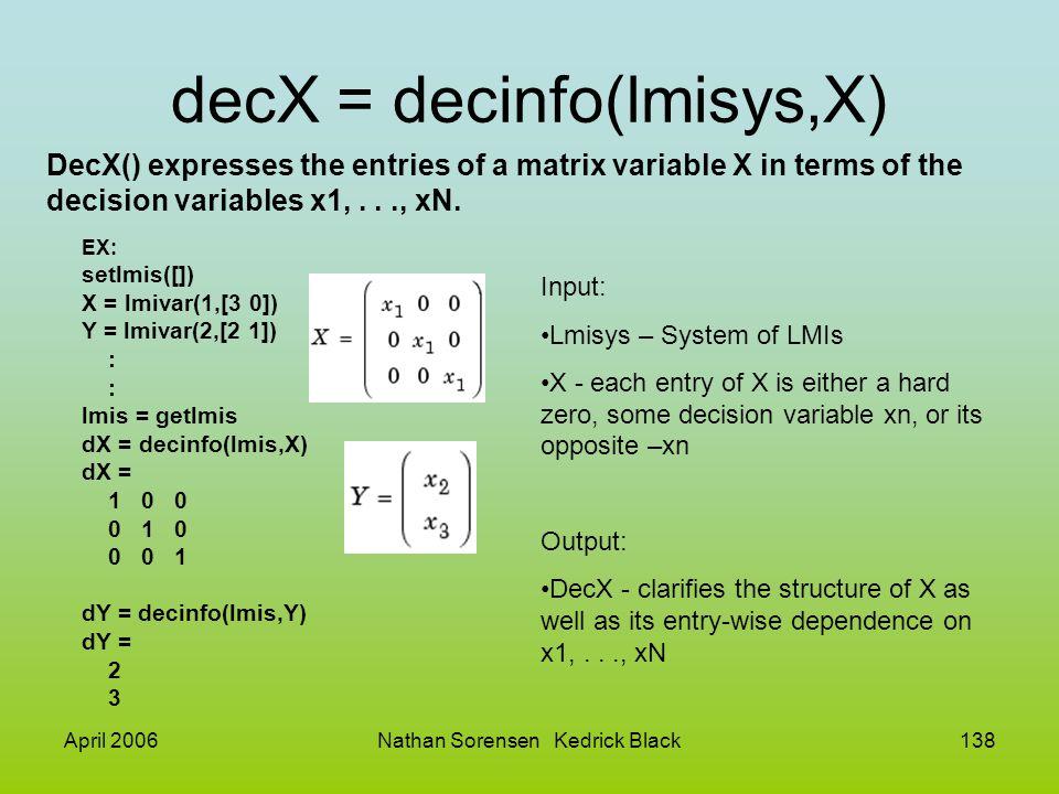 decX = decinfo(lmisys,X)