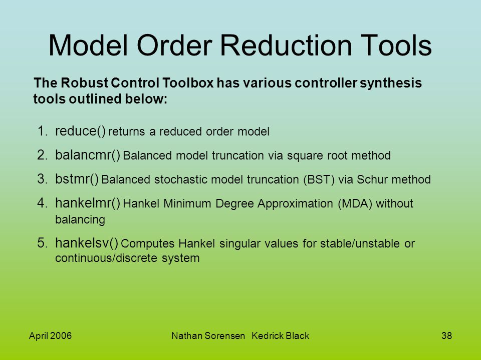 Model Order Reduction Tools