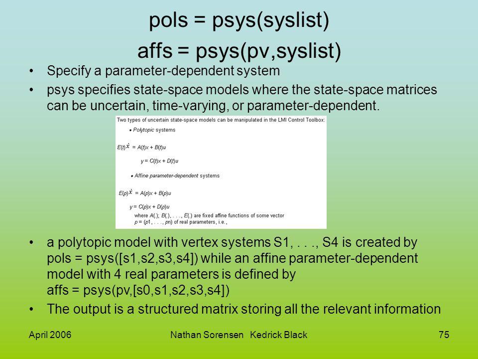 pols = psys(syslist) affs = psys(pv,syslist)