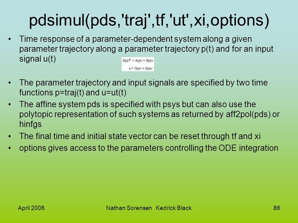 pdsimul(pds, traj ,tf, ut ,xi,options)