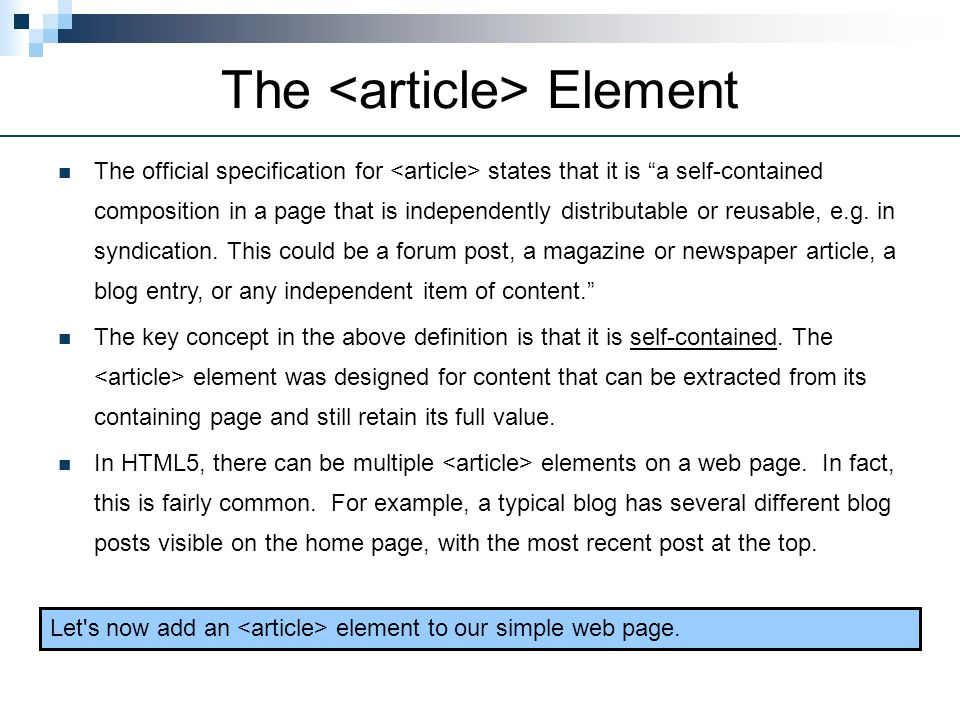 The <article> Element