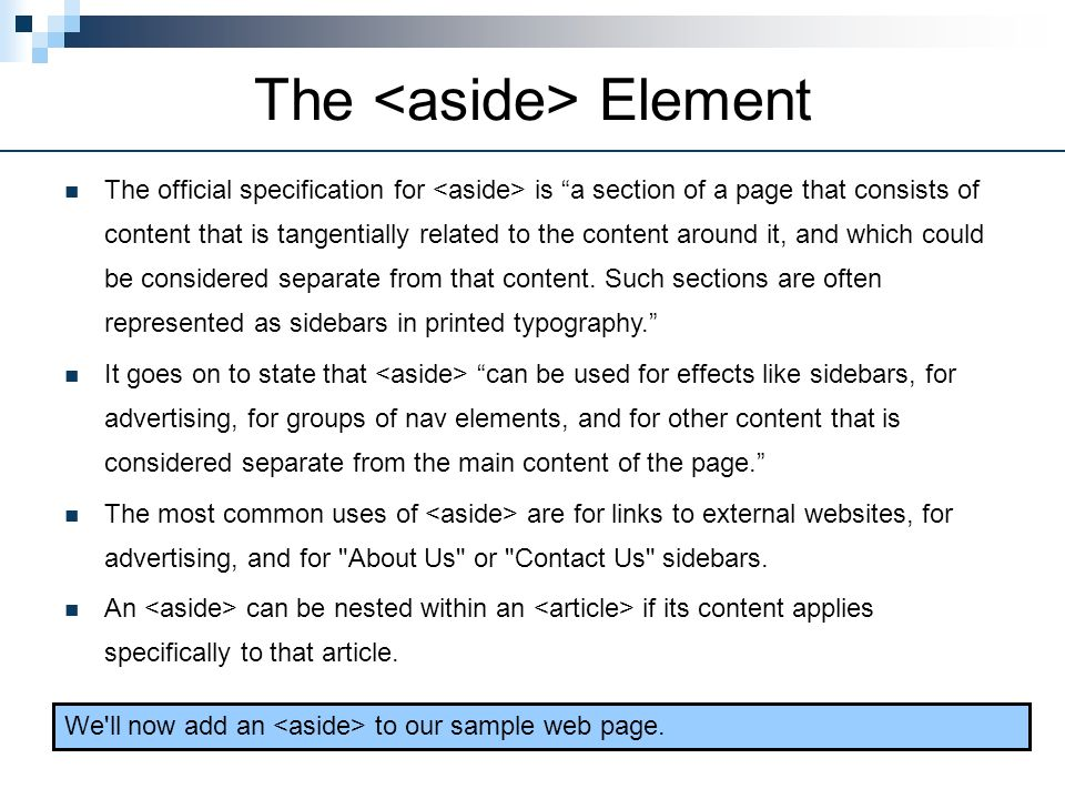 The <aside> Element