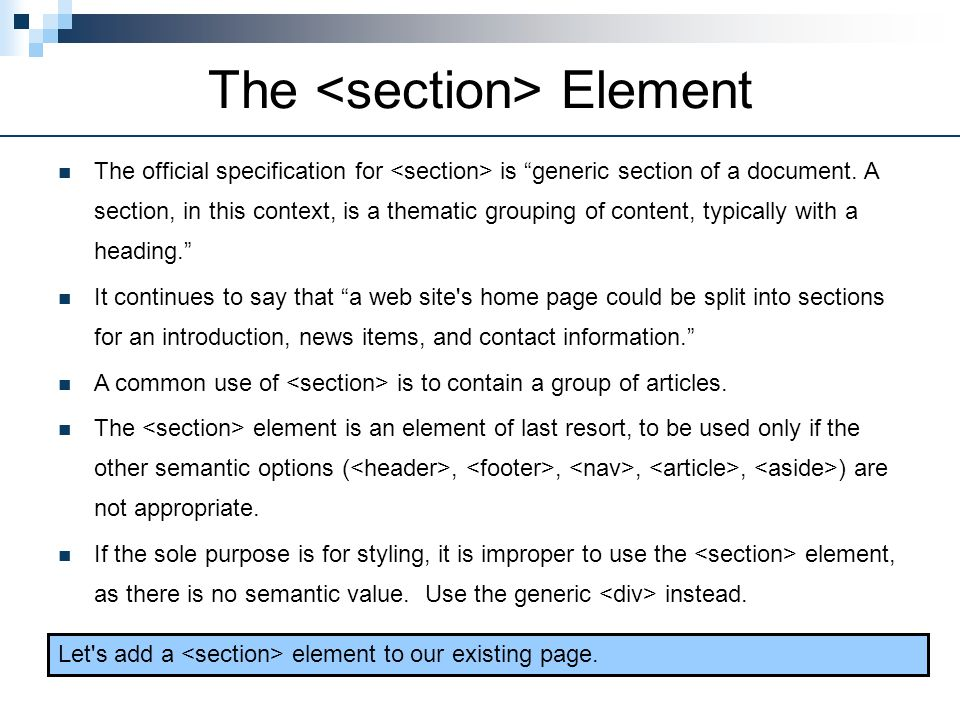The <section> Element