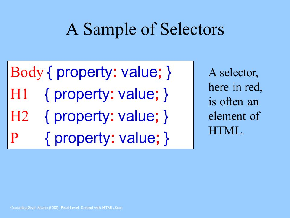 A Sample of Selectors Body { property: value; }