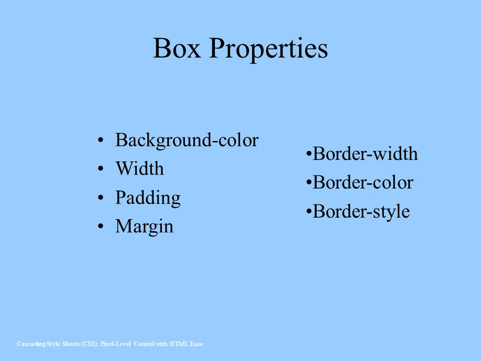 Box Properties Background-color Width Border-width Padding