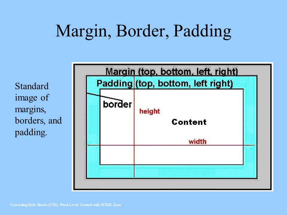 Margin, Border, Padding Standard image of margins, borders, and padding.