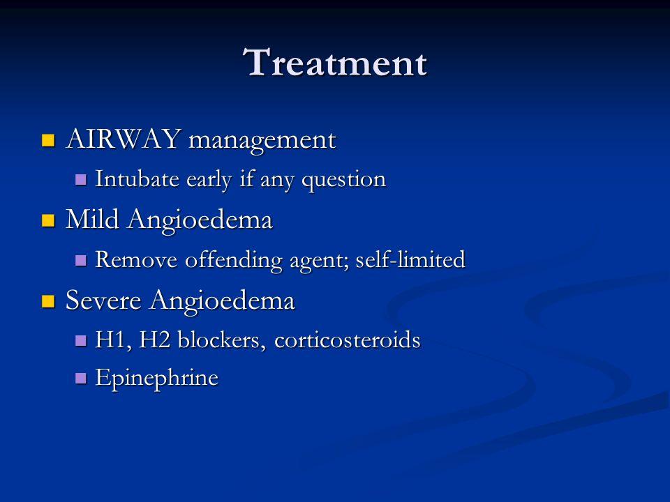 Treatment AIRWAY management Mild Angioedema Severe Angioedema