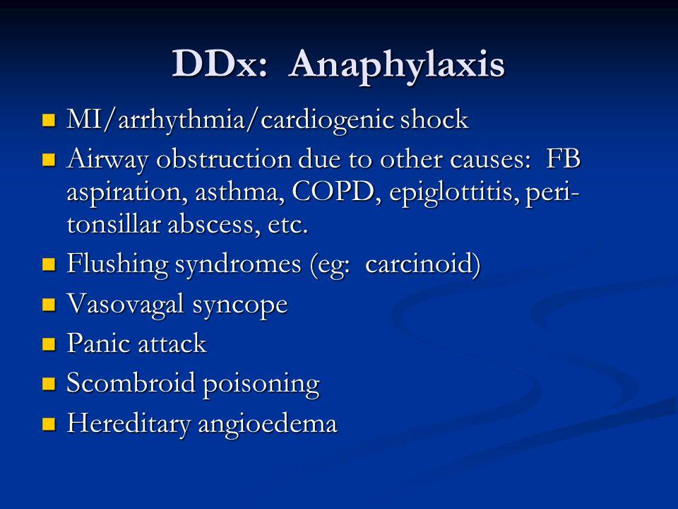 DDx: Anaphylaxis MI/arrhythmia/cardiogenic shock
