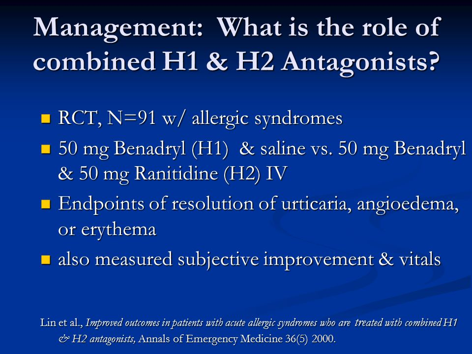 Management: What is the role of combined H1 & H2 Antagonists