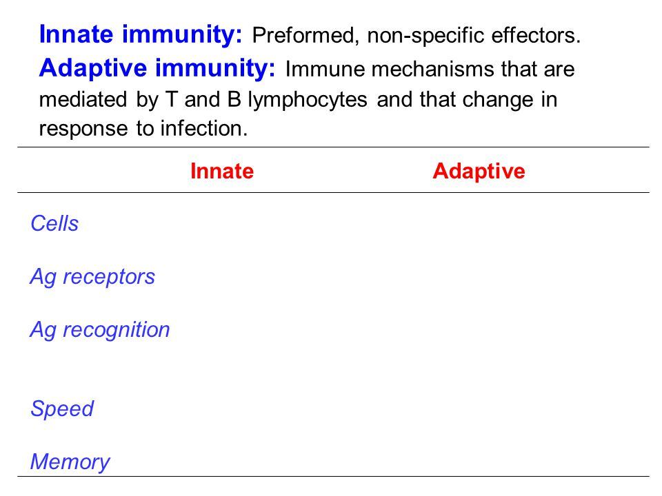 Innate immunity: Preformed, non-specific effectors.