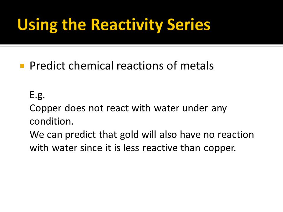 Using the Reactivity Series
