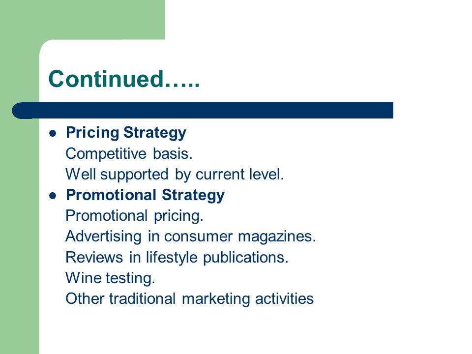 Continued….. Pricing Strategy Competitive basis.