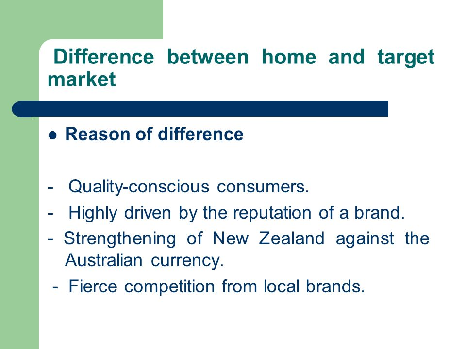 Difference between home and target market