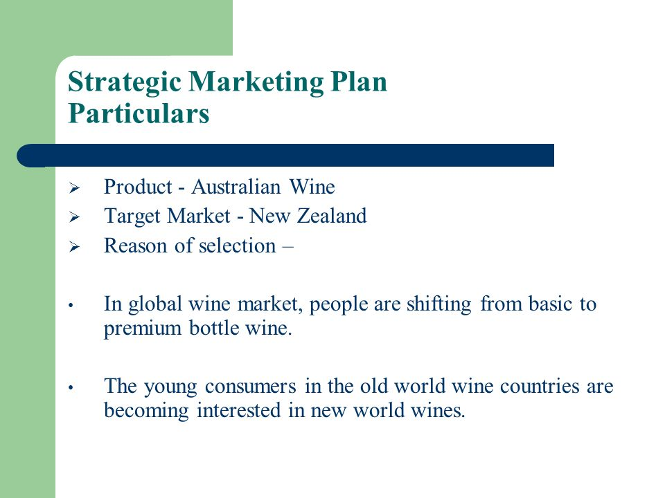 Strategic Marketing Plan Particulars