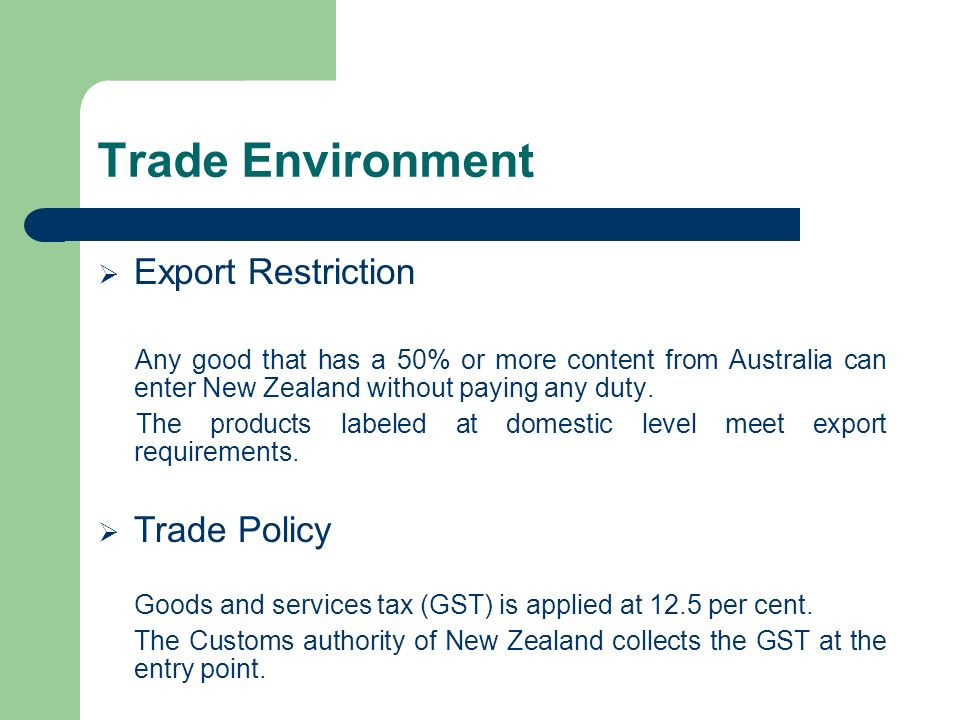 Trade Environment Export Restriction Trade Policy