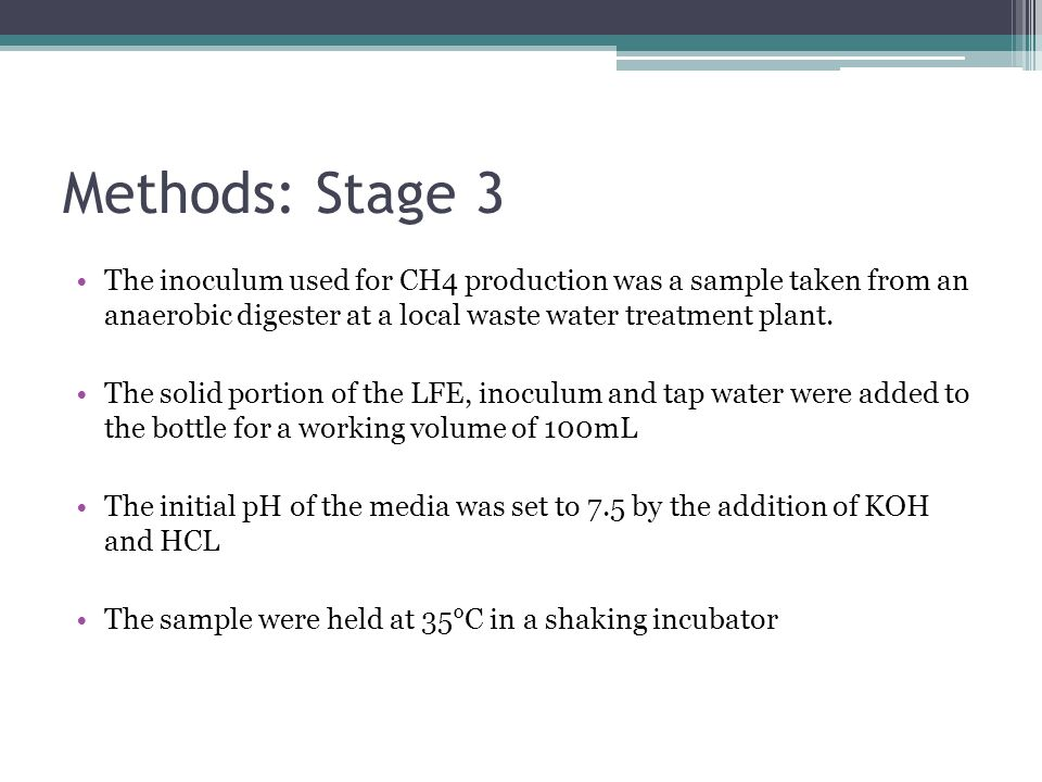 Methods: Stage 3 The inoculum used for CH4 production was a sample taken from an anaerobic digester at a local waste water treatment plant.