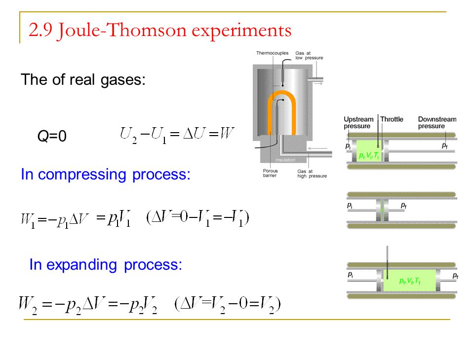 2.9 Joule-Thomson experiments