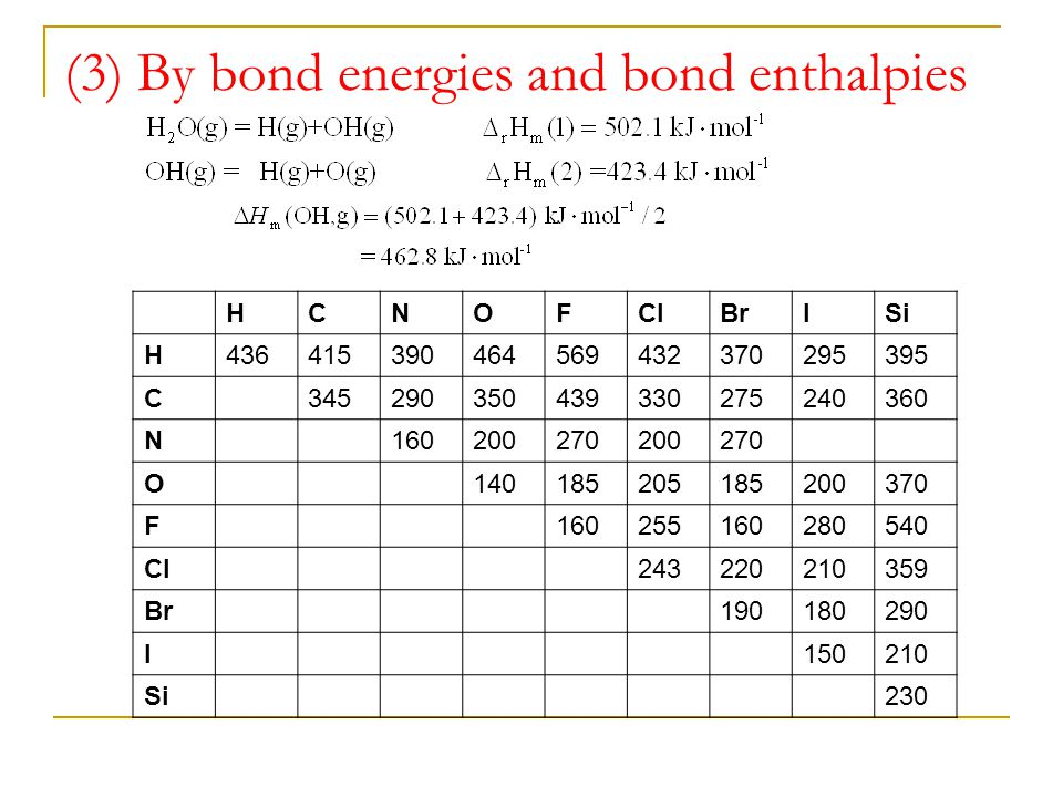 (3) By bond energies and bond enthalpies
