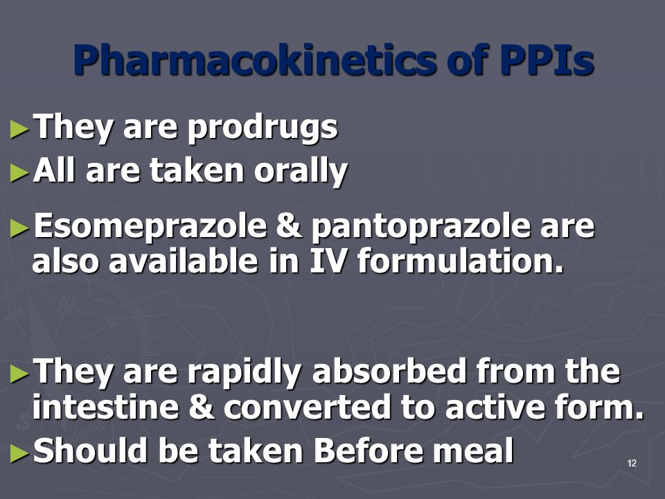 Pharmacokinetics of PPIs