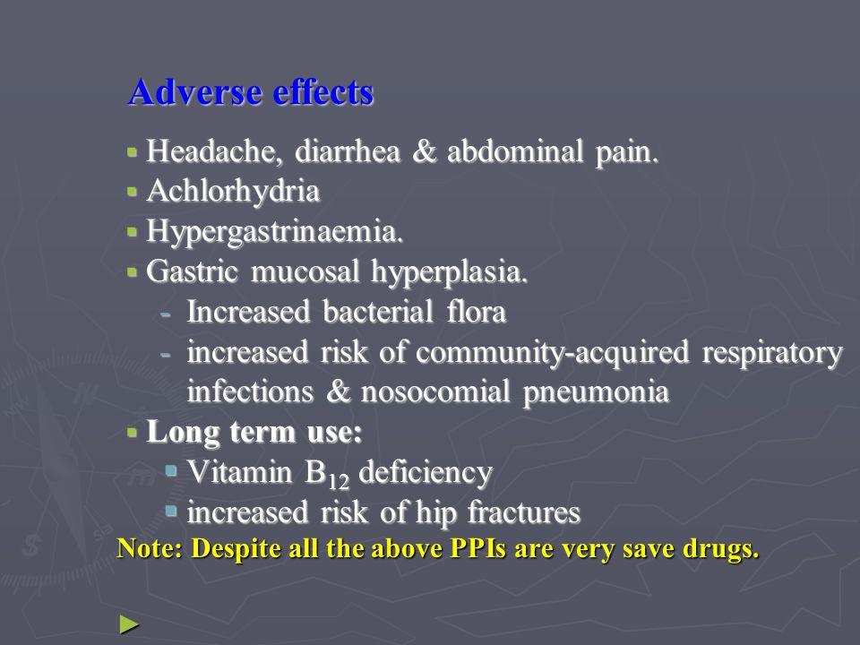 Adverse effects Headache, diarrhea & abdominal pain. Achlorhydria