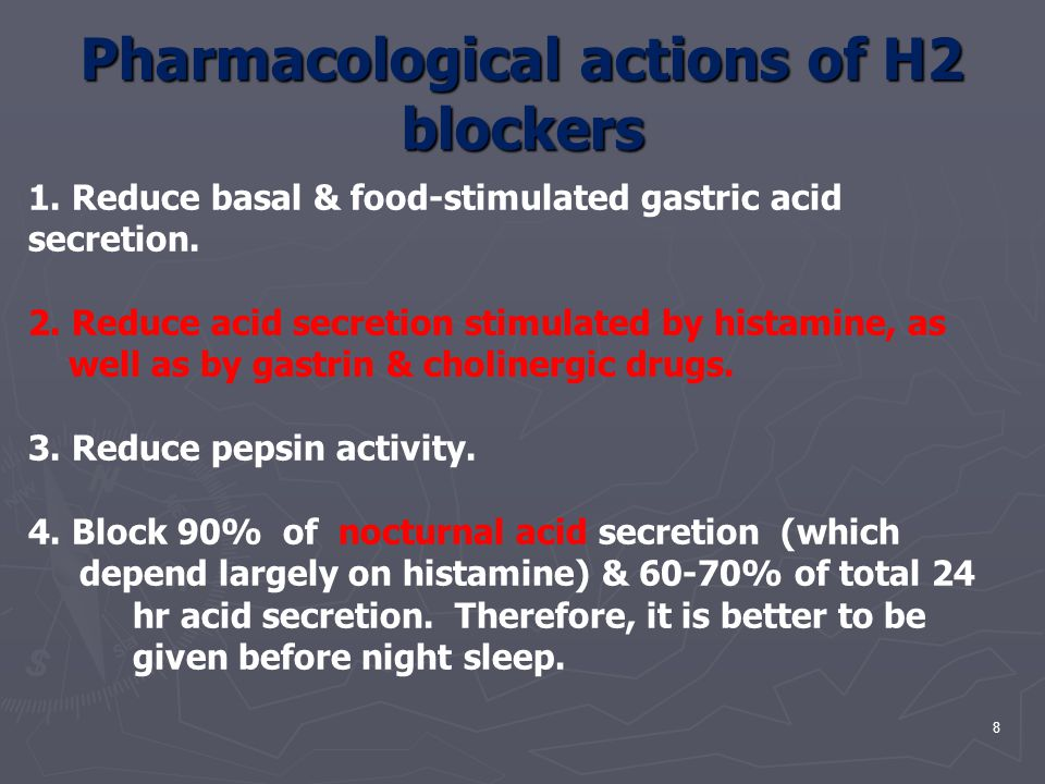 Pharmacological actions of H2 blockers