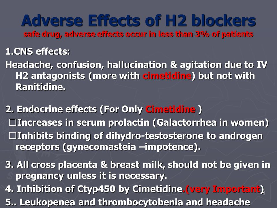 Adverse Effects of H2 blockers safe drug, adverse effects occur in less than 3% of patients