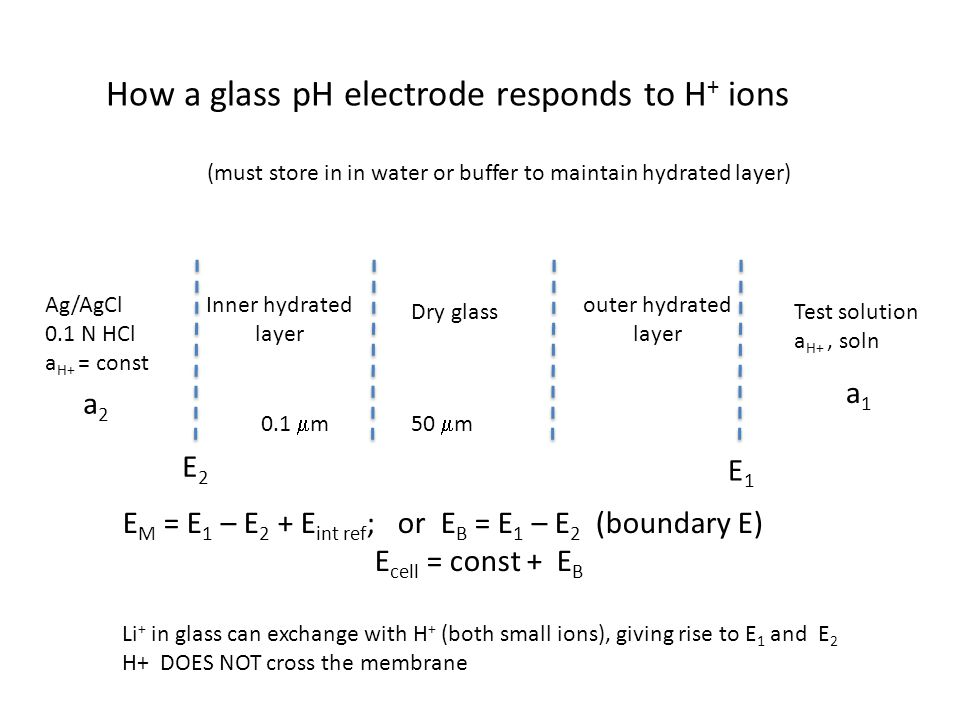 How a glass pH electrode responds to H+ ions