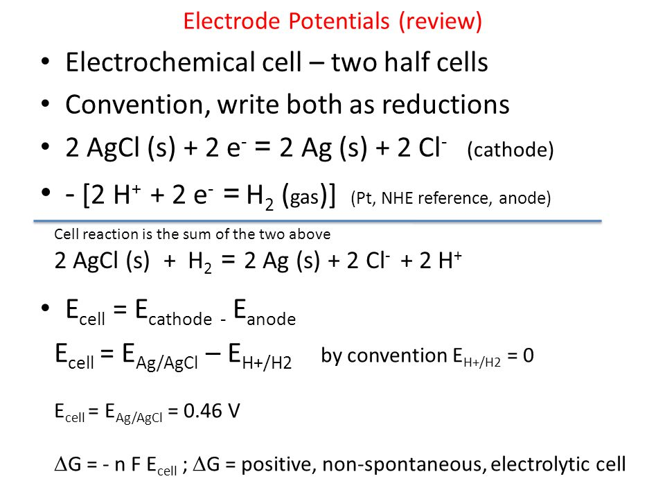 Electrode Potentials (review)