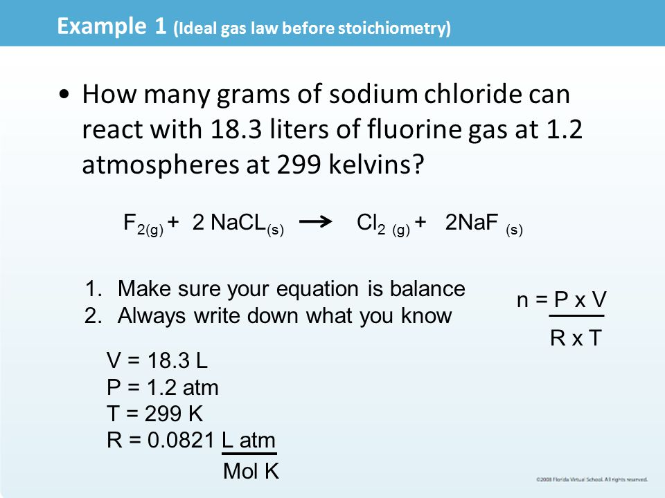 Example 1 (Ideal gas law before stoichiometry)