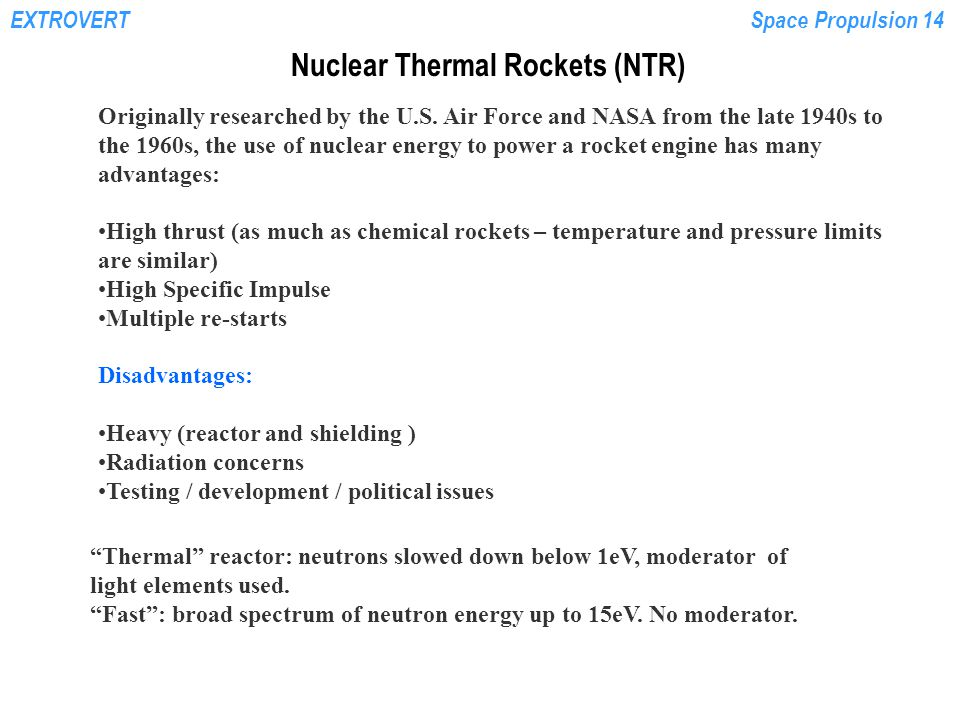 Nuclear Thermal Rockets (NTR)